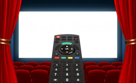 tv remote and cinema screen